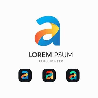 Buchstabe ein buntes logo mit pfeilentwurf