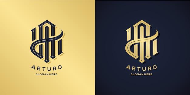 Buchstabe ein logo dekorativer stil