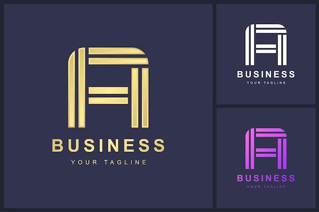 Buchstabe ein logo mit doppeltem umrisskonzept