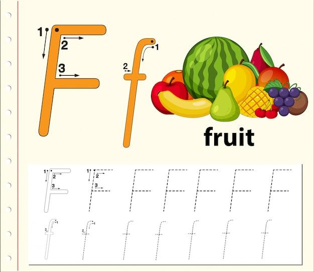 Buchstabe f, der arbeitsblätter für alphabet nachzeichnet