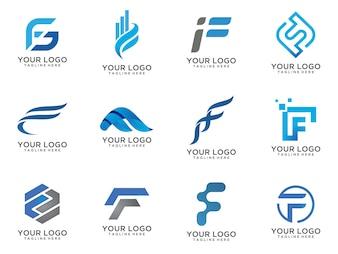 Buchstabe F Logo Design 12 Sätze