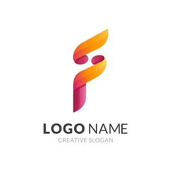 Buchstabe f logo mit 3d rotem und gelbem farbstil