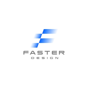 Buchstabe f logo schnelle geschwindigkeit in bewegung