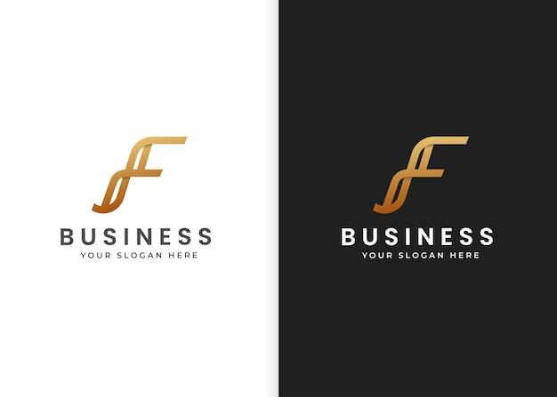 Buchstabe f luxus-logo-design-vorlage