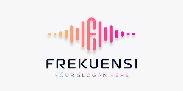 Buchstabe f mit puls. wellenelement. logo-vorlage elektronische musik, equalizer