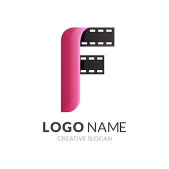 Buchstabe f und filmlogo, moderner logo-stil in farbverlauf rot und schwarz