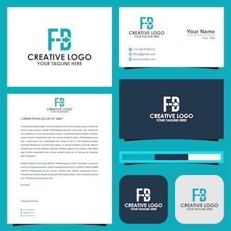 Buchstabe fb-logo mit premium-pfeilrichtung und visitenkarte