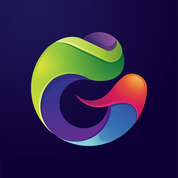 Buchstabe g abstraktes buntes logo