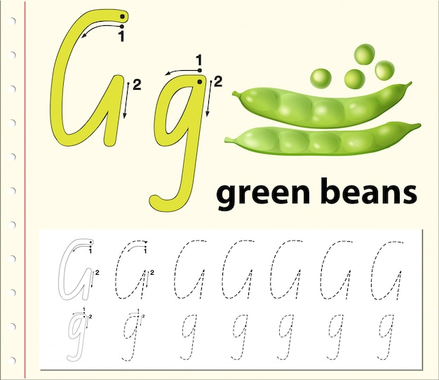 Buchstabe g, der alphabetarbeitsblätter verfolgt