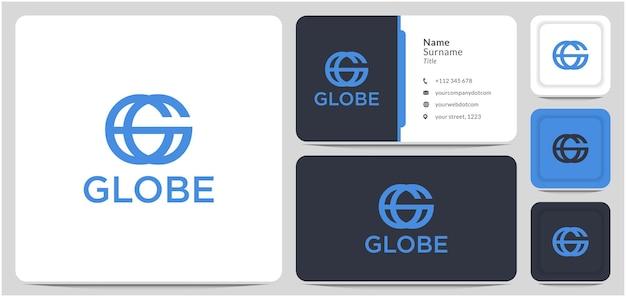 Buchstabe g für globus-logo-design-vektor-erd-planeten-welt