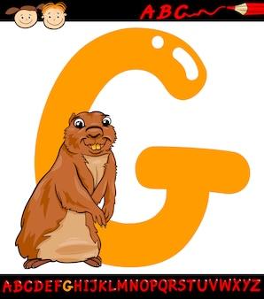 Buchstabe g für gopher-karikaturillustration