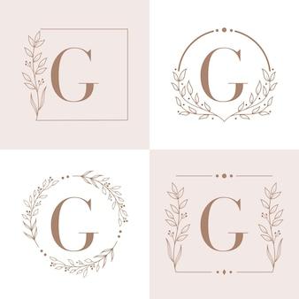 Buchstabe g logo mit blumenrahmenhintergrundschablone