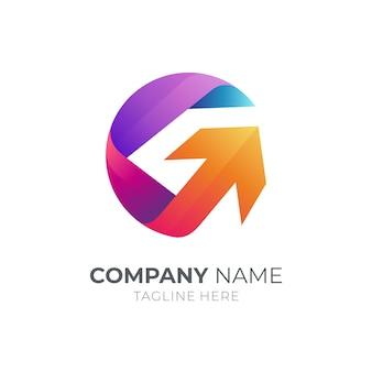 Buchstabe g logo mit pfeil