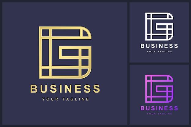 Buchstabe g logo mit umrisskonzept