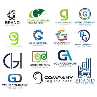 Buchstabe g logo-set. satz des kreativen g-buchstabenlogos.
