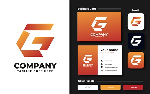 Buchstabe g logo vorlage und visitenkarte
