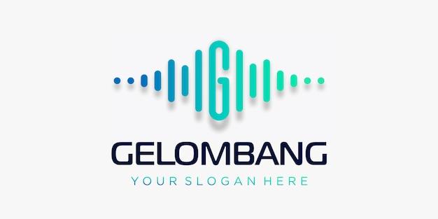 Buchstabe g mit puls. wellenelement. logo-vorlage elektronische musik, equalizer, laden, dj-musik, nachtclub, disco. audio-wellen-logo-konzept, thematische multimedia-technologie, abstrakte form.