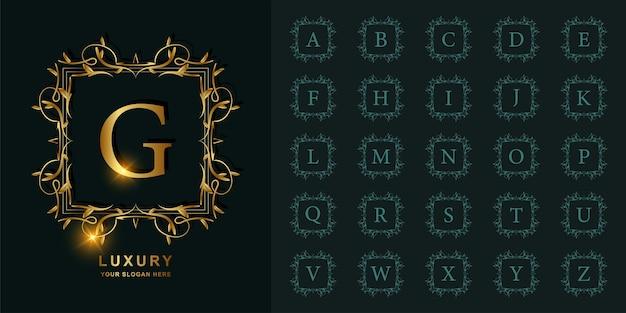 Buchstabe g oder sammlungsanfangsalphabet mit goldener logoschablone des blumenrahmens der luxusverzierung.