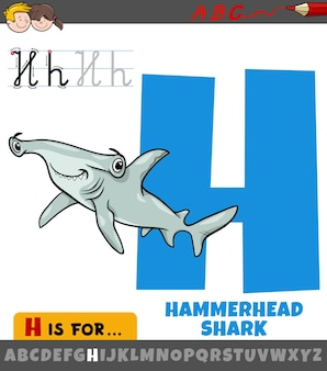 Buchstabe h aus dem alphabet mit cartoon-hammerhai