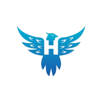 Buchstabe h in der vogel-körper-illustrations-logo-schablone