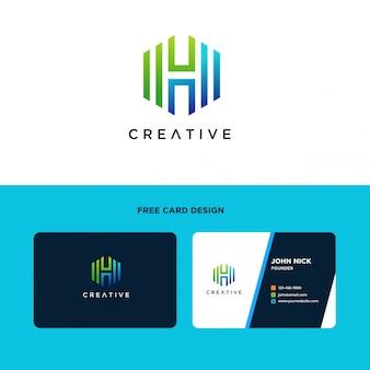 Buchstabe h logo design mit sechseckiger form