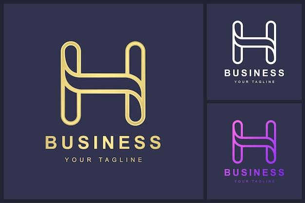 Buchstabe h logo mit umrisskonzept