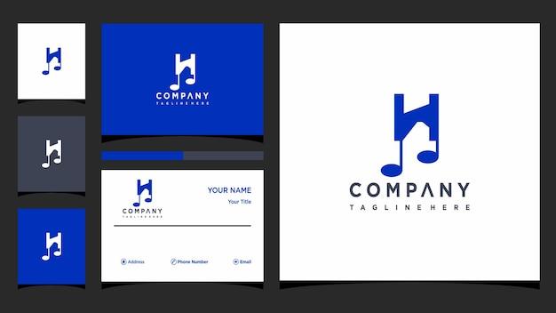 Buchstabe h musik logo design vektor premium-vektor