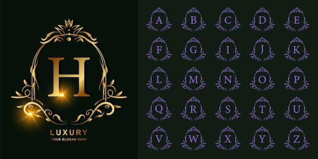 Buchstabe h oder sammlungsinitiales alphabet mit goldener logo-schablone des luxusverzierungsblumenrahmens.