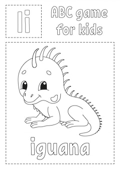Buchstabe i ist für leguan. abc-spiel für kinder. alphabet malvorlagen.