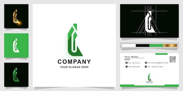 Buchstabe i oder l monogramm-logo-vorlage mit visitenkarten-design