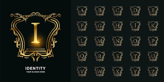 Buchstabe i oder sammlungsinitialalphabet mit goldener logoschablone des luxusornamentblumenrahmens.