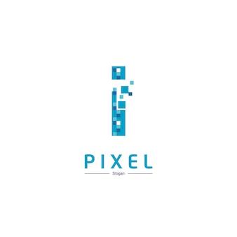 Buchstabe i pixel-technologie-logo