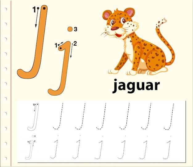 Buchstabe j, der alphabet-arbeitsblätter verfolgt