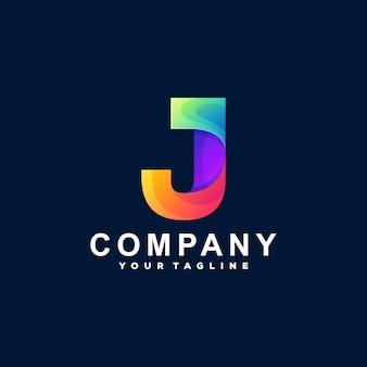 Buchstabe j farbverlauf logo design