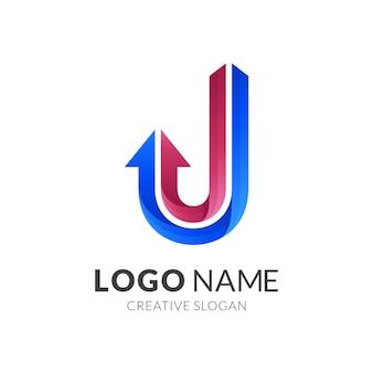 Buchstabe j-logo mit linienentwurfsschablone, buchstabe j und pfeil
