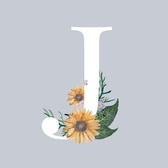 Buchstabe j mit blüten