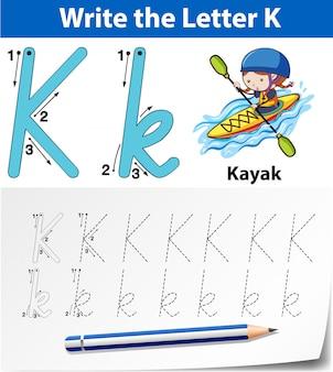 Buchstabe k, der alphabetarbeitsblätter nachzeichnet