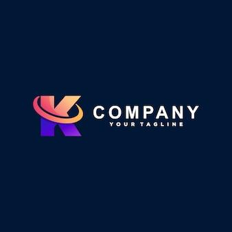 Buchstabe k farbverlauf logo design