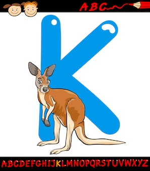 Buchstabe k für känguru-karikaturillustration