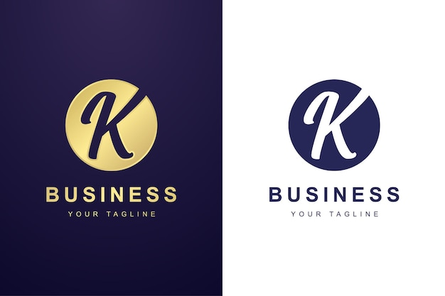 Buchstabe k-logo mit kreisformkonzept Premium Vektoren