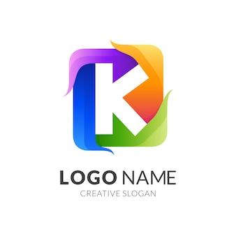Buchstabe k logo mit quadratischem design farbenfrohen, modernen stil