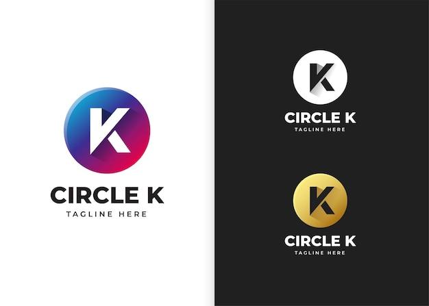 Buchstabe k-logo-vektor-illustration mit kreisform-design