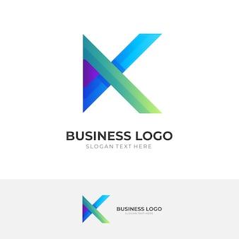 Buchstabe k-logo-vorlage mit blauem und grünem 3d-farbstil