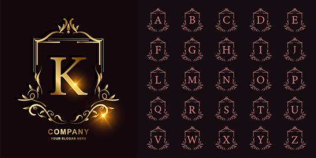 Buchstabe k oder sammlungsinitialalphabet mit goldener logoschablone des blumenrahmens der luxusverzierung.