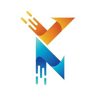 Buchstabe k pfeil-logo mit schnellem symbol, anfangs-va-logo, schnelles logo, pfeil-logo