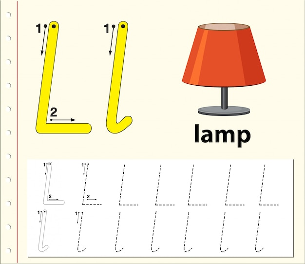 Buchstabe l, der alphabetarbeitsblätter verfolgt