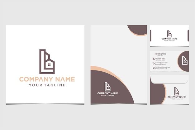 Buchstabe l logo home kombinationsdesign inspiration für firmen- und visitenkarten-premium-vektor premium-vektor