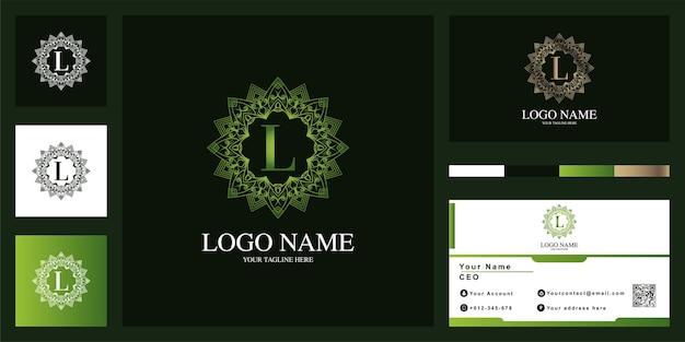 Buchstabe l luxus ornament blumenrahmen logo template design mit visitenkarte.