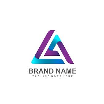 Buchstabe l und a erstes logo-design