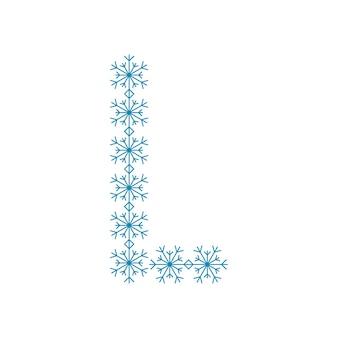 Buchstabe l von schneeflocken. festliche schrift oder dekoration für neujahr und weihnachten
